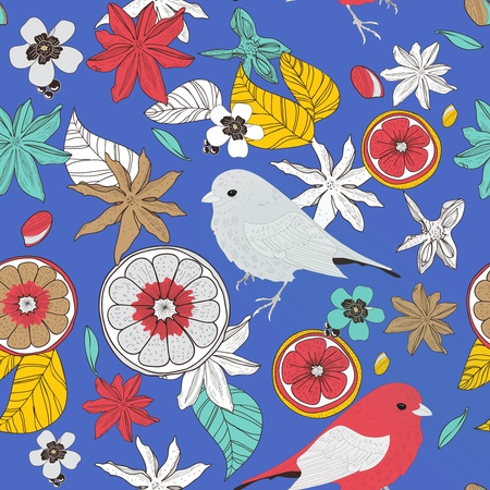 Seamless texture with birds, leafs and fruits Vector