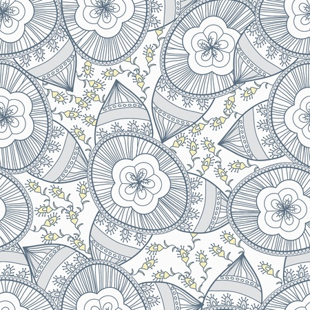 Seamless texture with drawing tribal flowers Stock Vector - 19990680