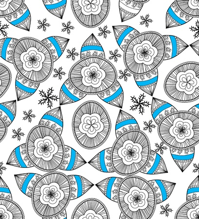 Seamless texture with drawing tribal flowers Stock Vector - 19990780