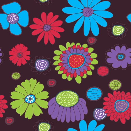 Seamless background with multicolored flowers Stock Vector - 19990259