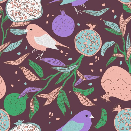 Seamless pattern with drawing birds and fruits Vector