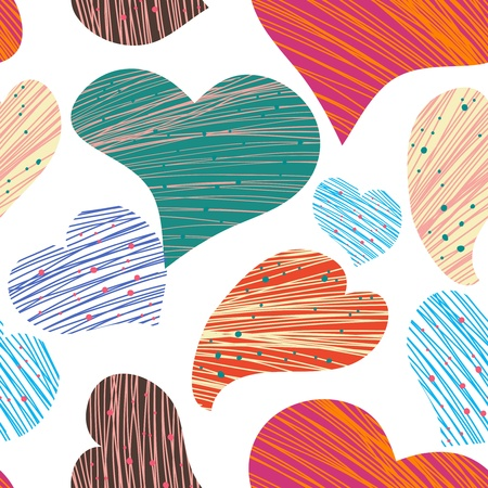 Seamless pattern with drawing hearts Vector