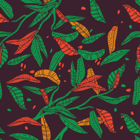 Seamless texture with leafs Vector