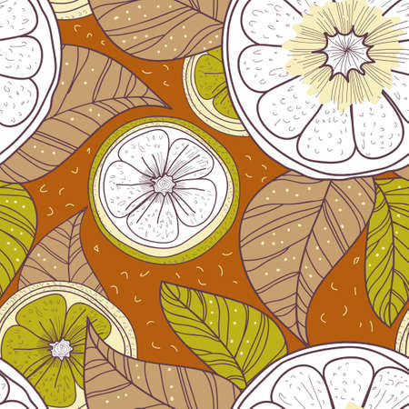turquiose: Seamless background with drawing multicolored lemons and leafs Illustration
