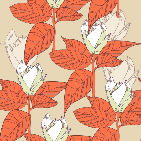 Seamless background with drawing flowers and leafs Vector