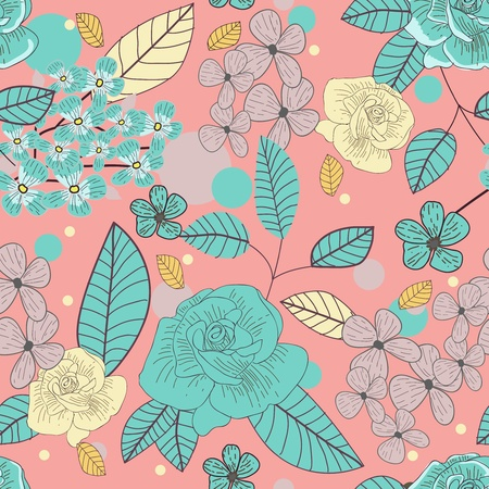 Seamless background with drawing roses Vector