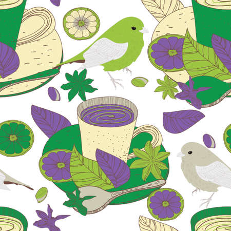 Seamless background with drawing tea cups and birds Vector