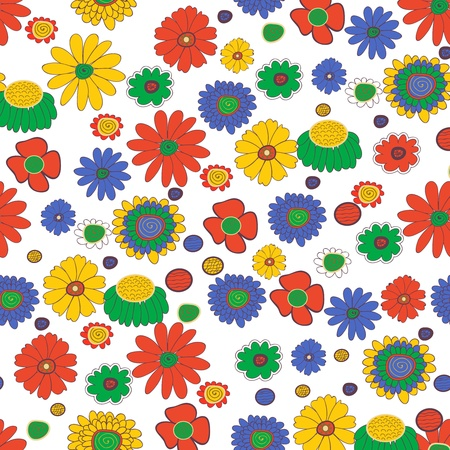 Seamless background with multicolored flowers Vector