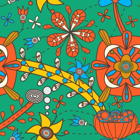 Seamless texture with tribal flowers Illustration