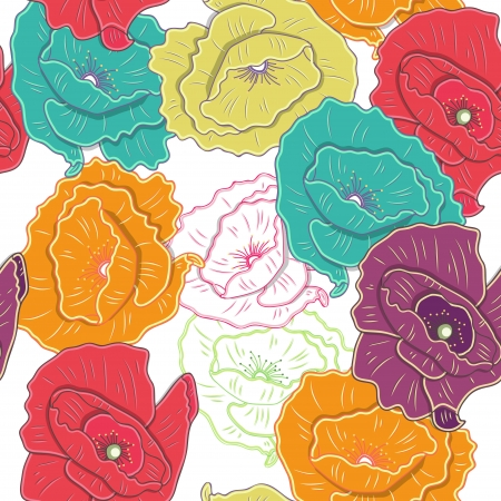 poppy pattern: Seamless background with drawing flowers