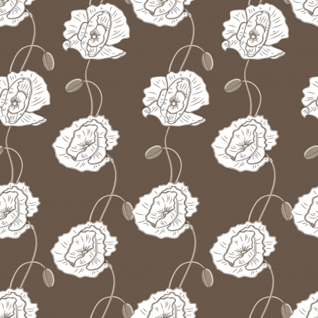 light brown background: Seamless texture with drawing flowers Illustration