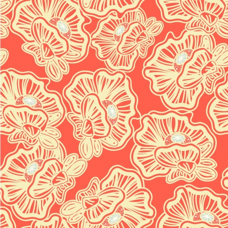 Seamless texture with drawing flowers Vector
