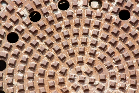Close up photo with pattern of manhole photo