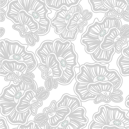 poppy pattern: Seamless vector background with drawing flowers Illustration