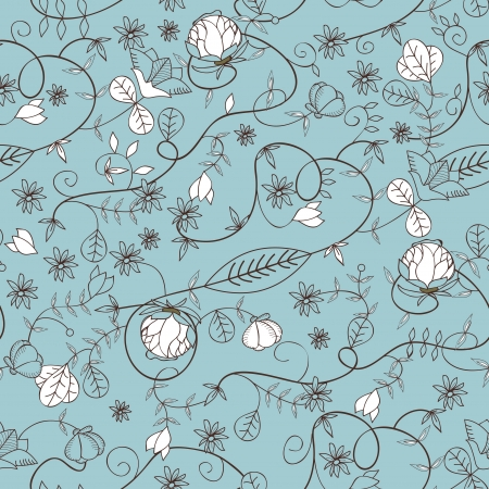 light brown background: Seamless vector floral texture with drawing small flowers Illustration