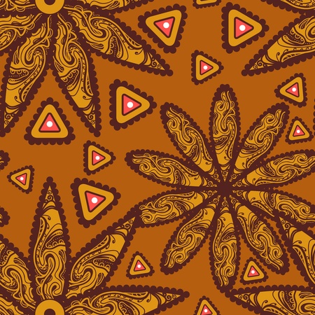 ethno: Seamless vector texture with tribal flowers