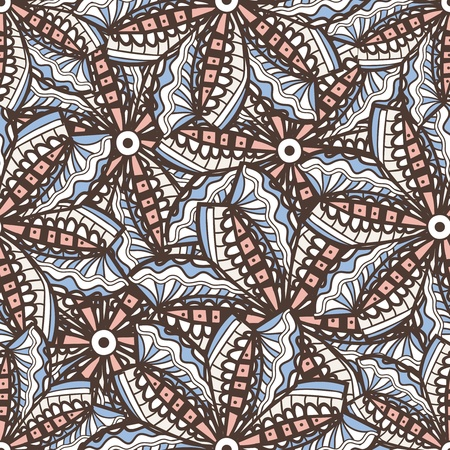 Seamless vector texture with tribal flowers Vector