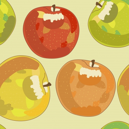 Seamless vector background with drawing apples Vector