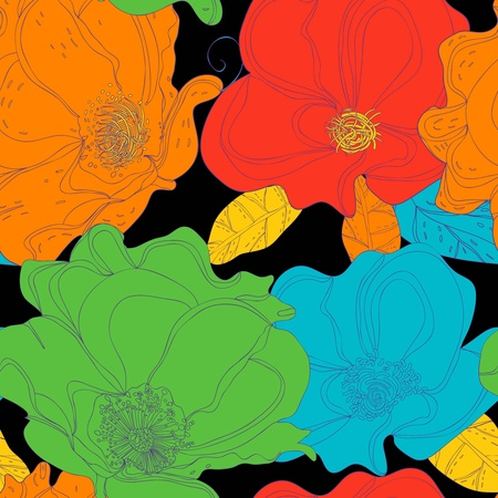 Seamless vector background with drawing flowers Vector