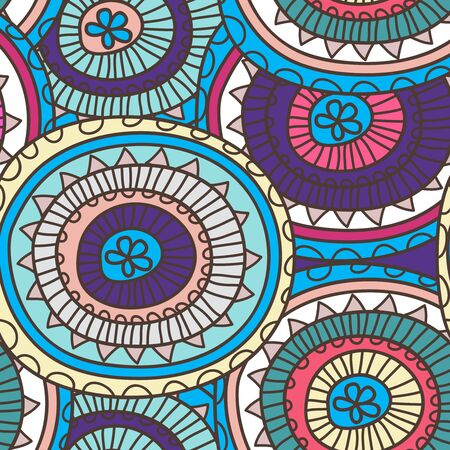 Seamless vector texture with tribal rounded pattern Vector