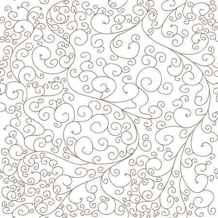 seamless damask: Textura incons?til del vector con remolinos de dibujo Vectores