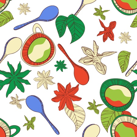 Seamless vector pattern with spoon,cups and spices Vector