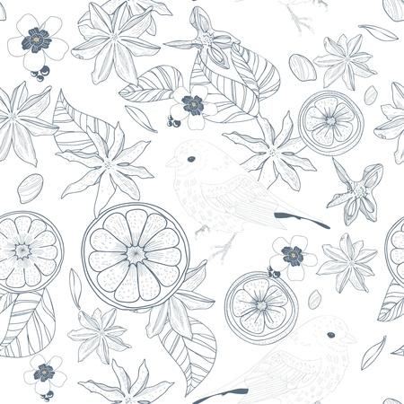 Seamless vector texture with birds, leafs and fruits Ilustração