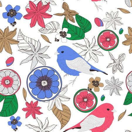 Seamless vector texture with birds, leafs and fruits Vector