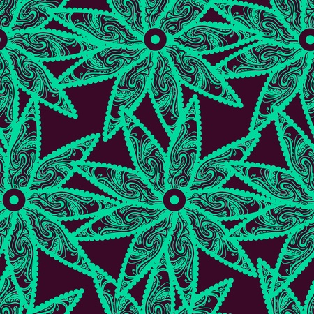 turquiose: Seamless vector texture with tribal flowers