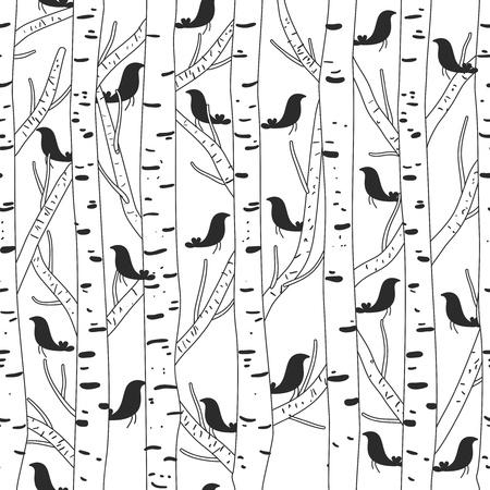 papel tapiz: Textura incons?til del vector con los p?jaros y los ?rboles