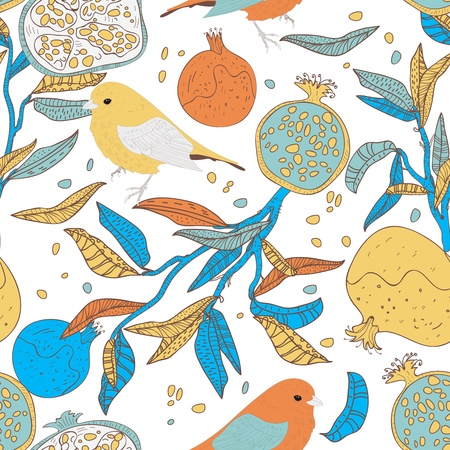 pomegranate: Seamless vector pattern with drawing birds and fruits