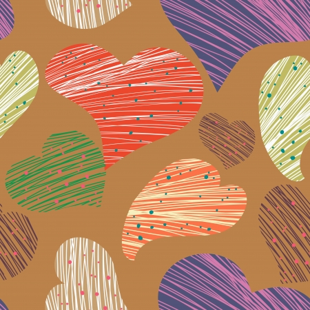 Seamless vector pattern with drawing hearts Vector