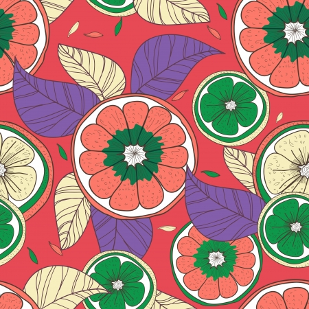 Seamless vector background with drawing multicolored lemons and leafs Vector