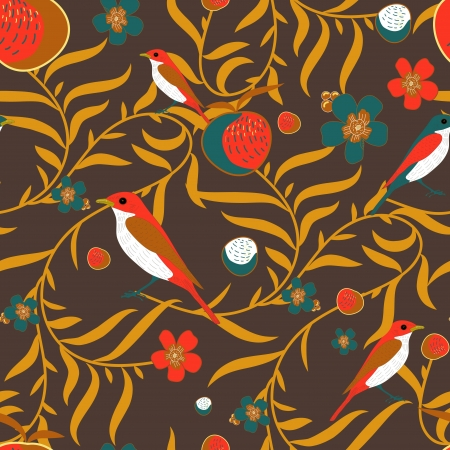 Seamless vector texture with leafs and fruits Vector