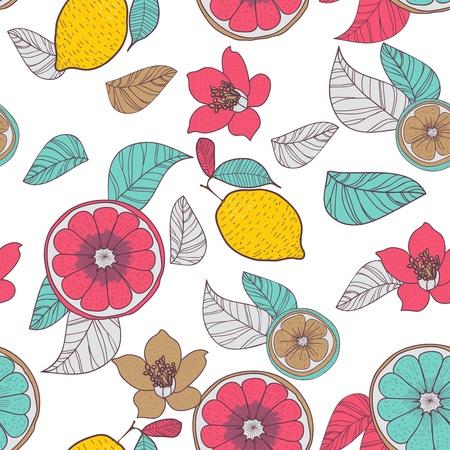 Fondo inconsútil del vector con el dibujo de limones y hojas multicolores Foto de archivo - 20535987