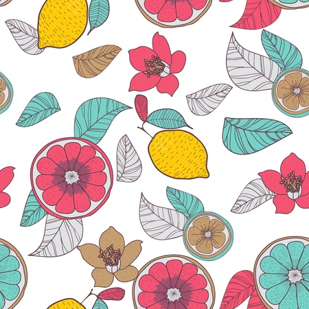 Seamless vector background with drawing multicolored lemons and leafs Illustration
