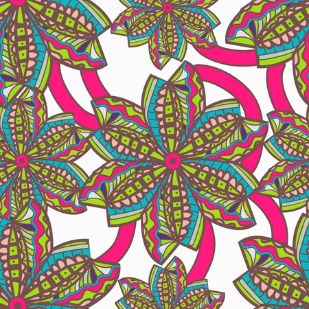 Seamless vector texture with tribal flowers Stock Vector - 20535797