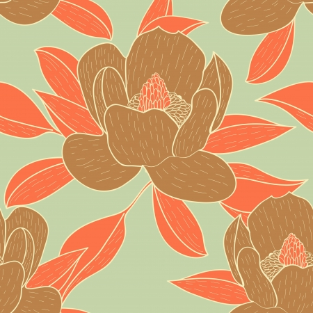 Seamless vector background with drawing flowers and leafs Vector