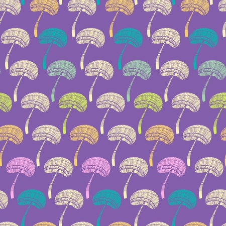 Seamless vector texture with abstract tribal mushrooms Vector