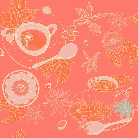 badiane: Seamless vector pattern with spoon,cups and spices