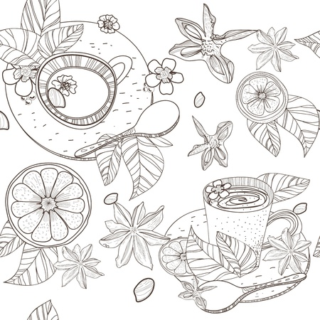 Seamless vector pattern with spoon,cups and spices