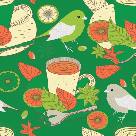 Seamless vector background with drawing tea cups and birds Vector