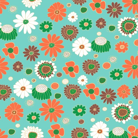 Seamless vector background with multicolored flowers Stock Vector - 20535925