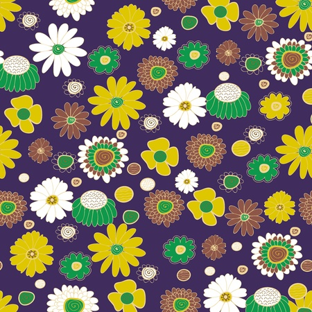 Seamless vector background with multicolored flowers Stock Vector - 20535927