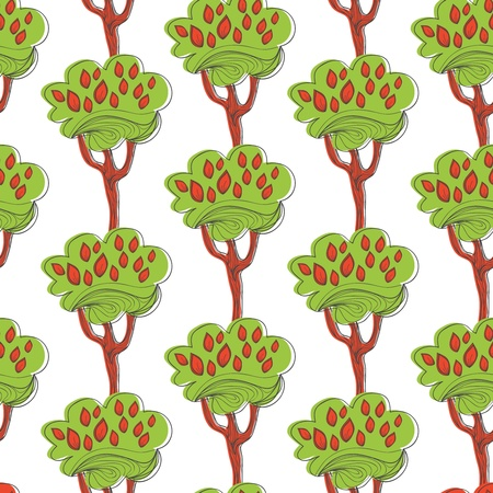 Seamless vector texture with drawing trees Vector