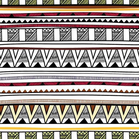 ethno: Seamless background with drawing tribal pattern