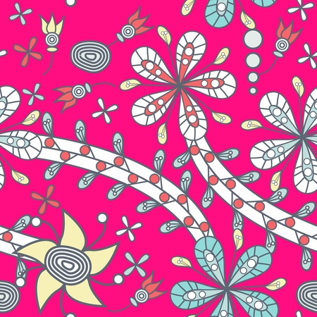 Seamless texture with drawing tribal flowers Vector