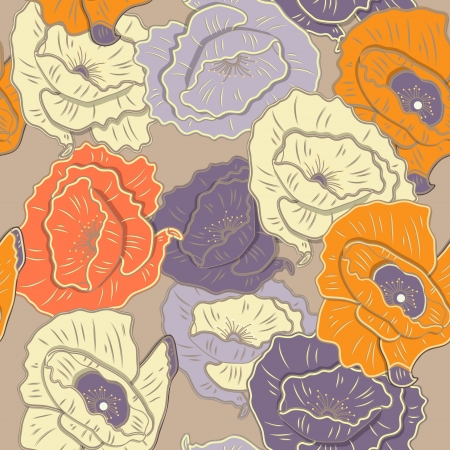 Seamless background with drawing flowers Vector