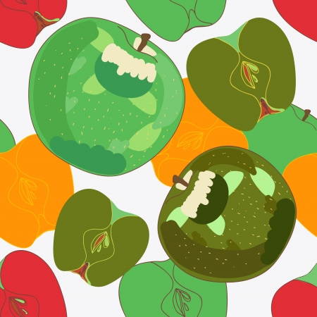 Seamless background with drawing apples Vector