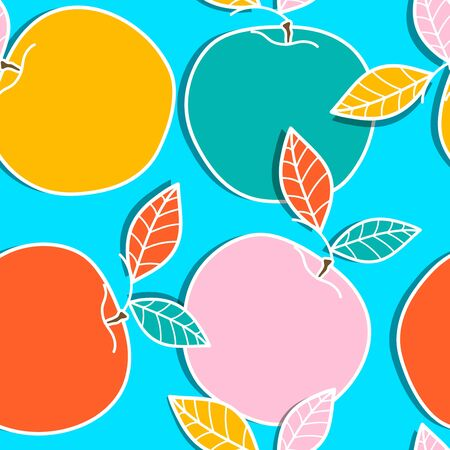turquiose: Seamless background with drawing apples